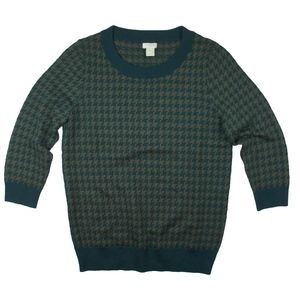 New JCREW Olive Teal Charley Sweater Houndstooth
